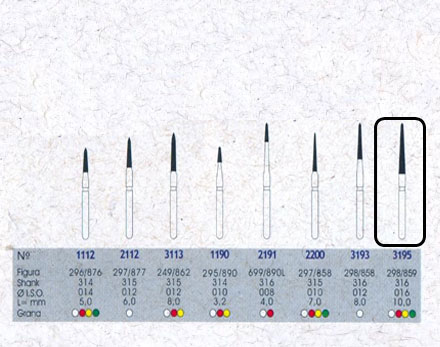 Infográfico do produto Ponta Diamantada Cônica Topo Chama 3195F - FG