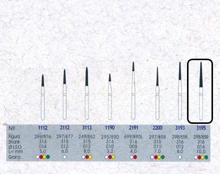Infográfico do produto Ponta Diamantada Cônica Topo Chama 3195FF - FG