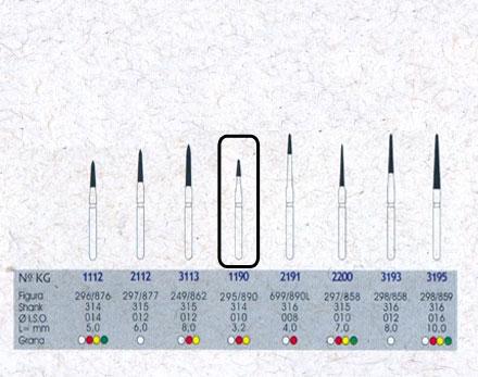 Infográfico do produto Ponta Diamantada Cônica Topo Chama 1190FF - FG