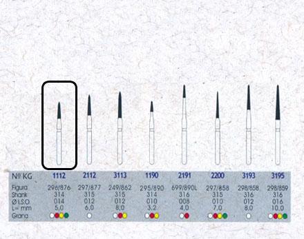 Infográfico do produto Ponta Diamantada Cônica Topo Chama 1112F - FG