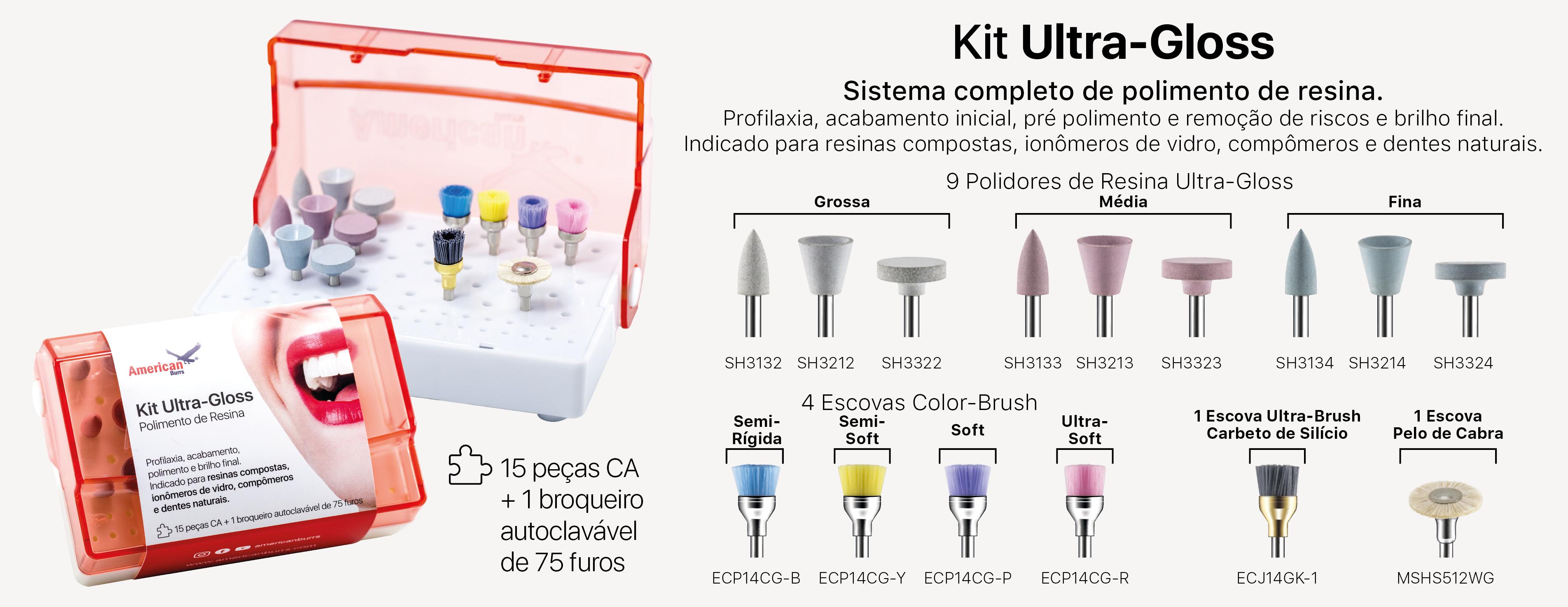 Infográfico do produto Kit p/ Polimento Resina Completo Ultra - Gloss