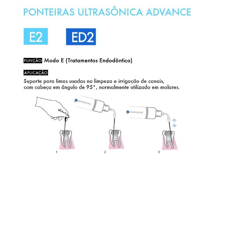 Infográfico do produto Ponta de Ultrassom - E2