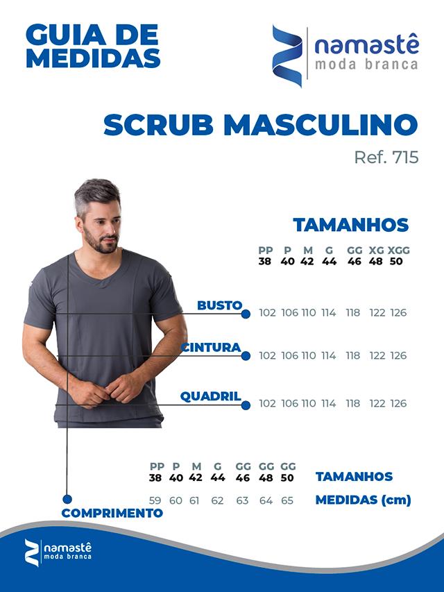 Infográfico do produto Blusa Scrub Masculina Dry Fit Cinza - Tam. 46