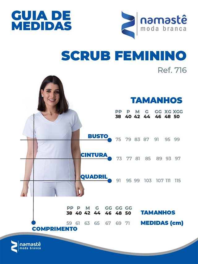 Infográfico do produto Blusa Scrub Feminina Dry Fit Branco - Tam. 42