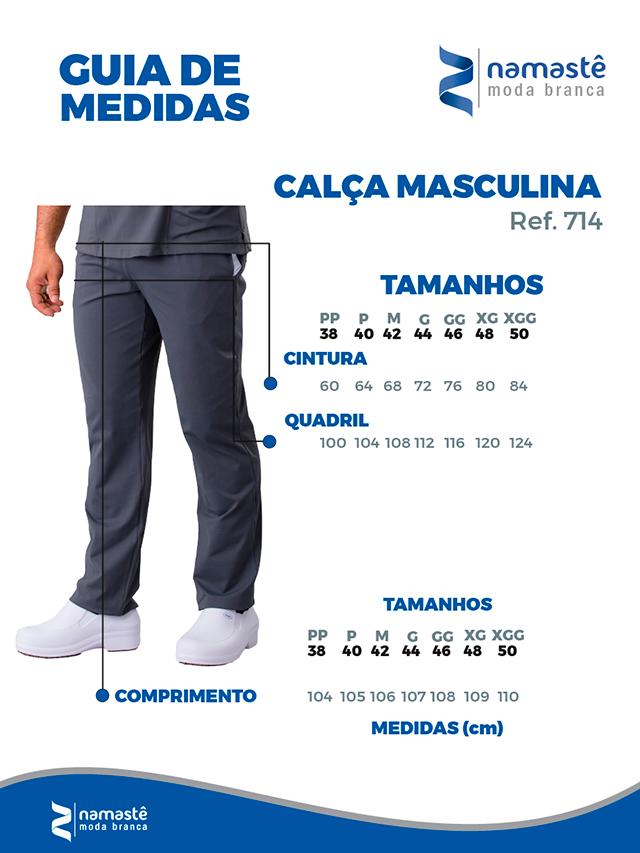 Infográfico do produto Calça Scrub Unissex Dry Fit Branco - Tam. 42