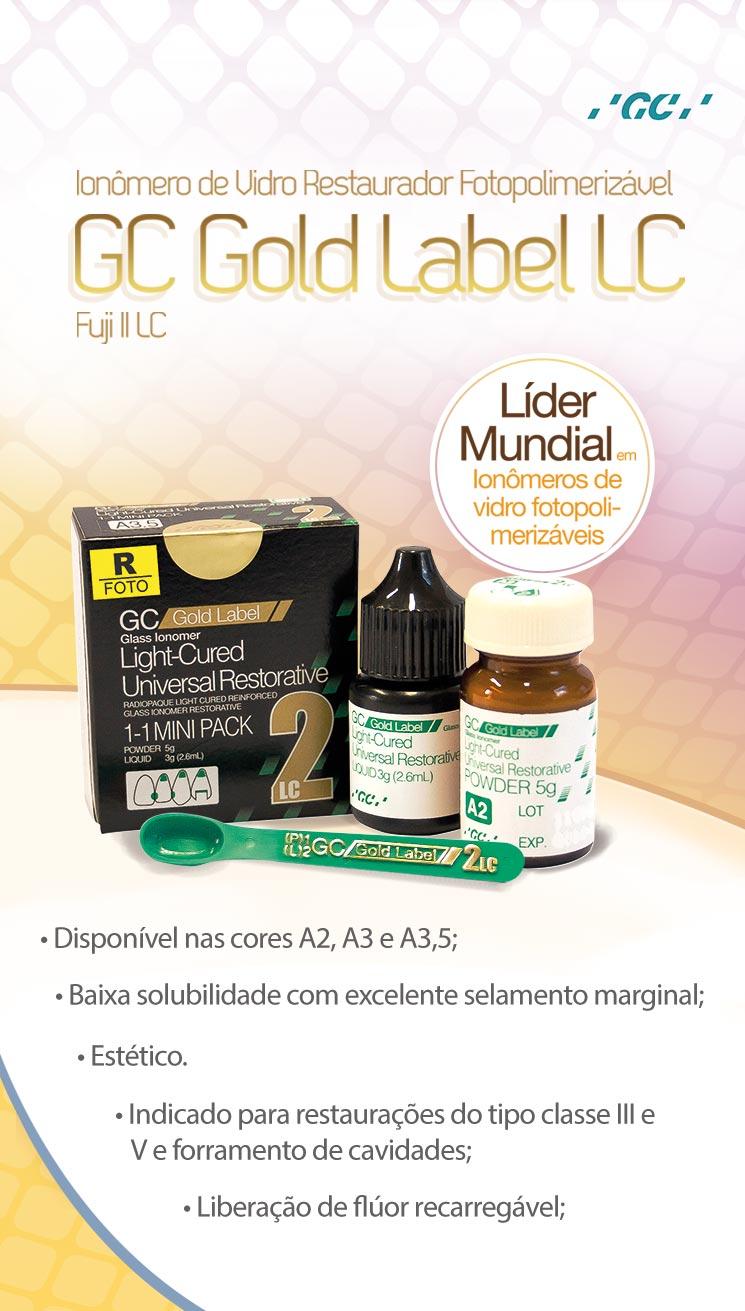 Infográfico do produto Ionômero de Vidro GC Gold Label 2 LC - A2