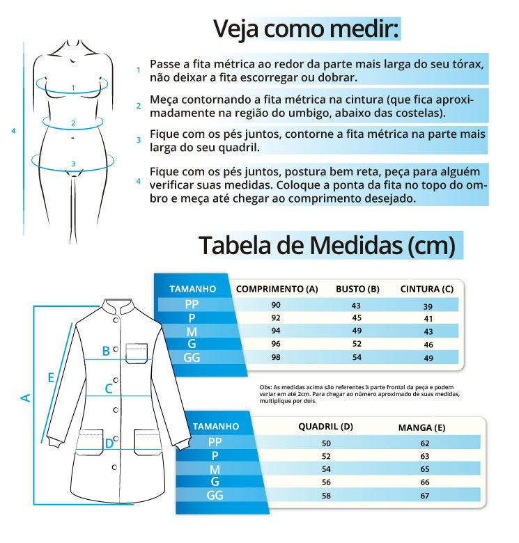 Infográfico do produto Jaleco Feminino Premium Vinho Marsala - G