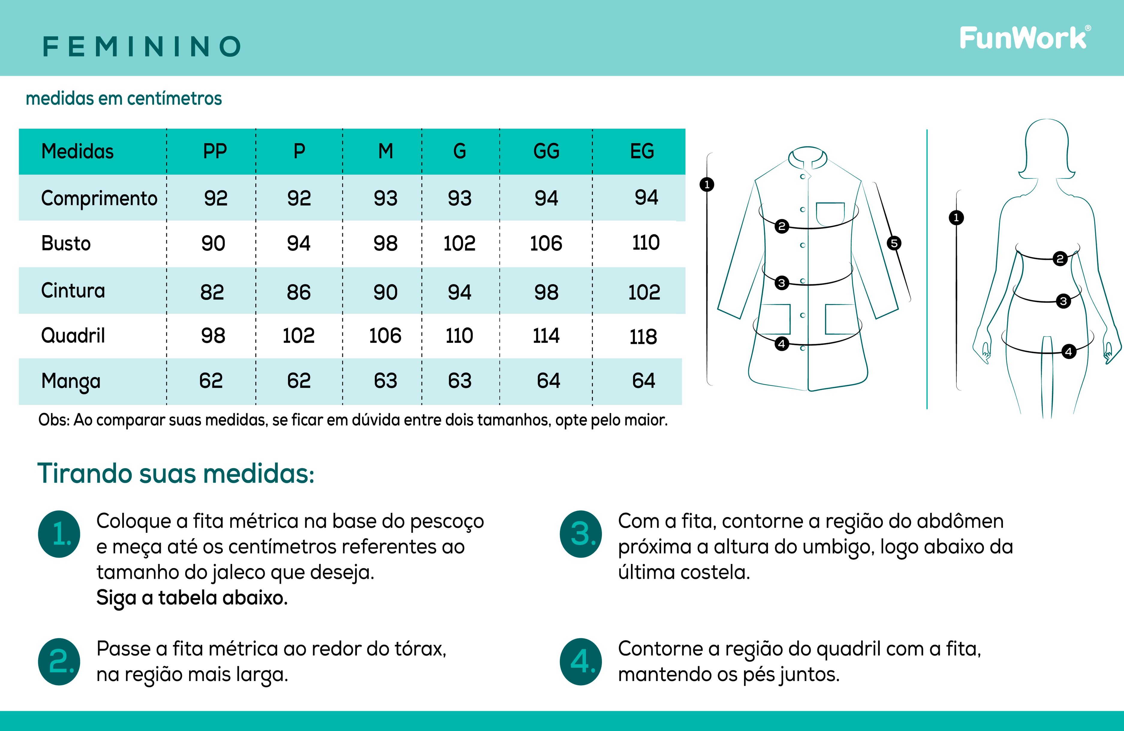 Infográfico do produto Jaleco Feminino Allure Branco - G