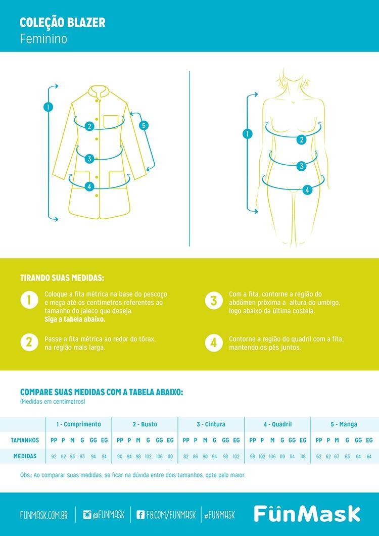 Infográfico do produto Jaleco Feminino Charm Branco - PP