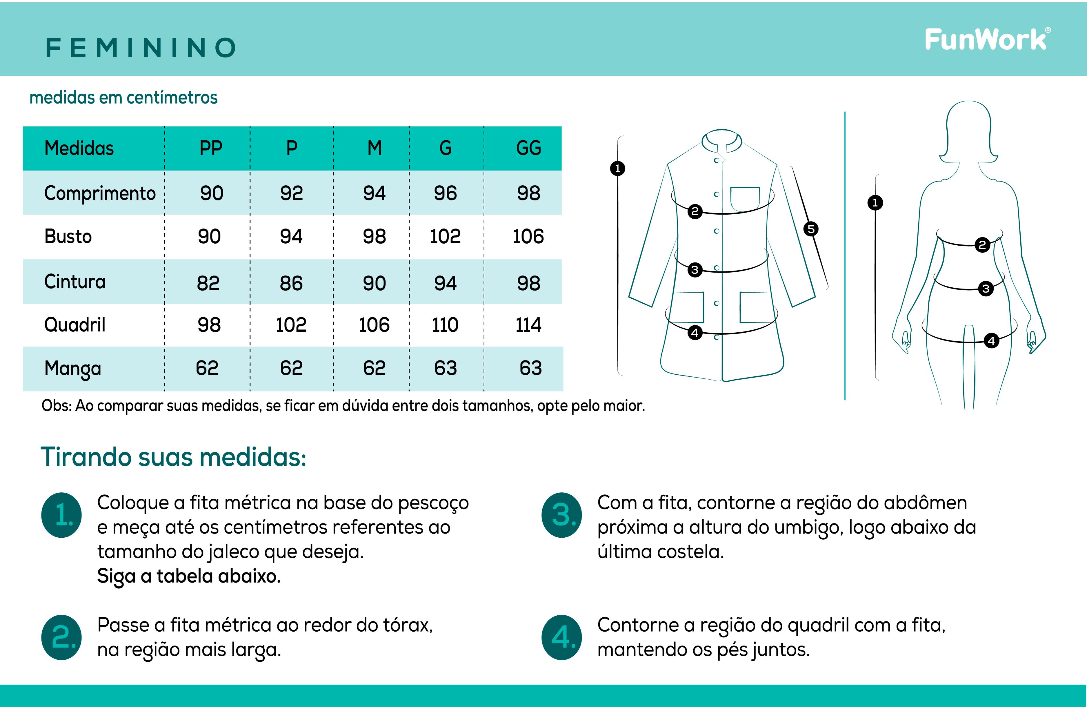 Infográfico do produto Jaleco Feminino Chic Branco - GG