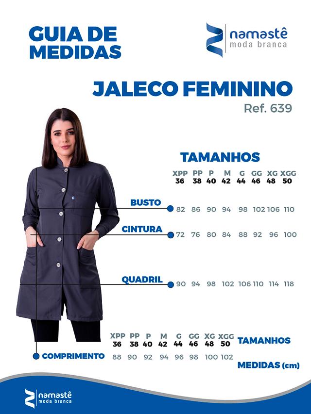 Infográfico do produto Jaleco Feminino Gola Padre c/ Botão No Punho Pink - Tam. 38