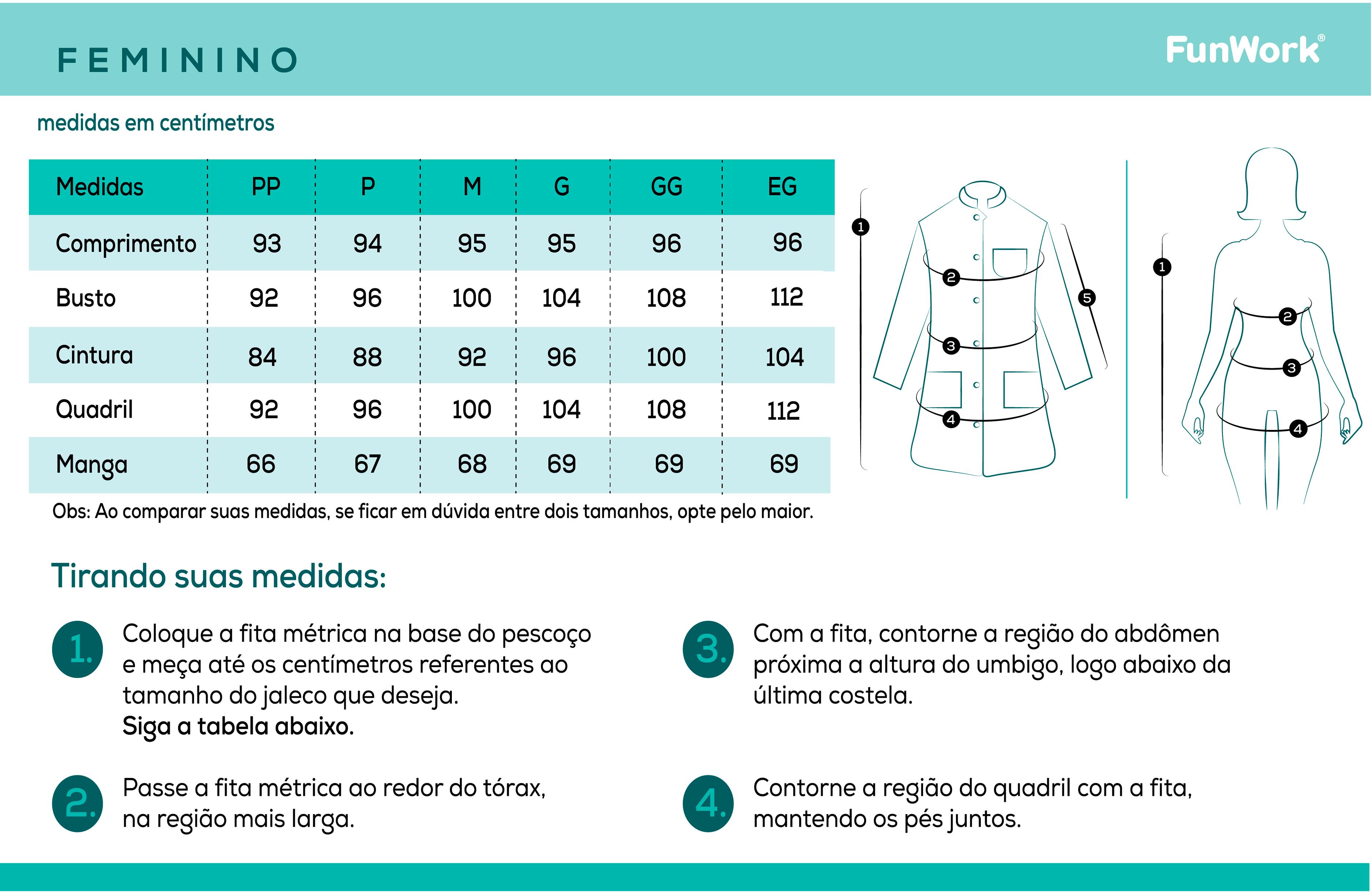 Infográfico do produto Jaleco Feminino Newprene Azul Marinho - PP