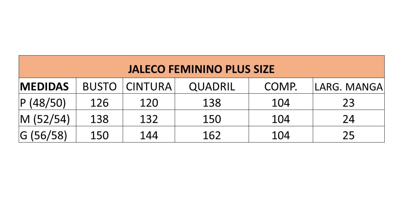 Infográfico do produto Jaleco Feminino Plus Size Unik Branco - M (52/54)