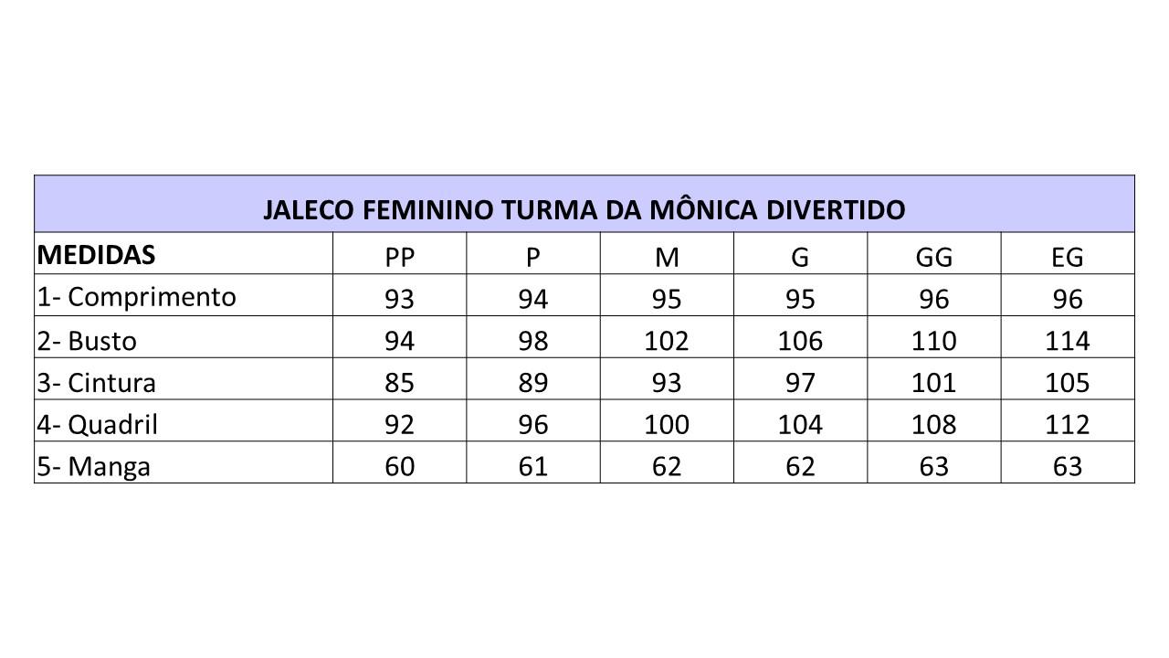 Infográfico do produto Jaleco Feminino Turma da Mônica Divertido - PP