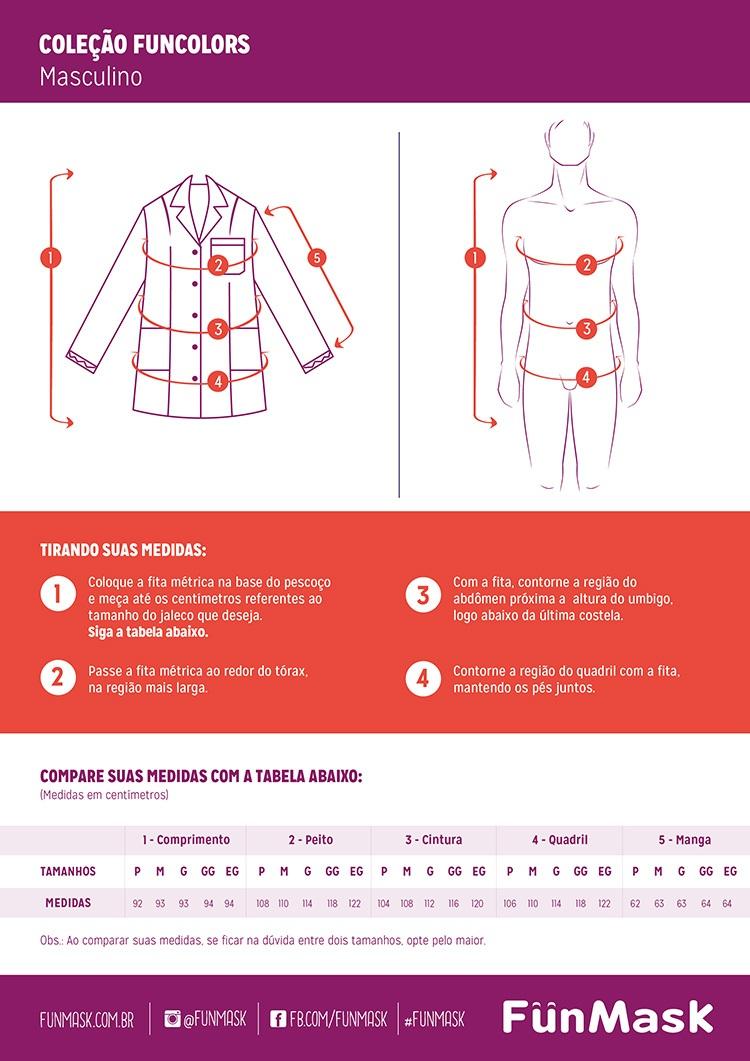 Infográfico do produto Jaleco Masculino Blazer Branco - G