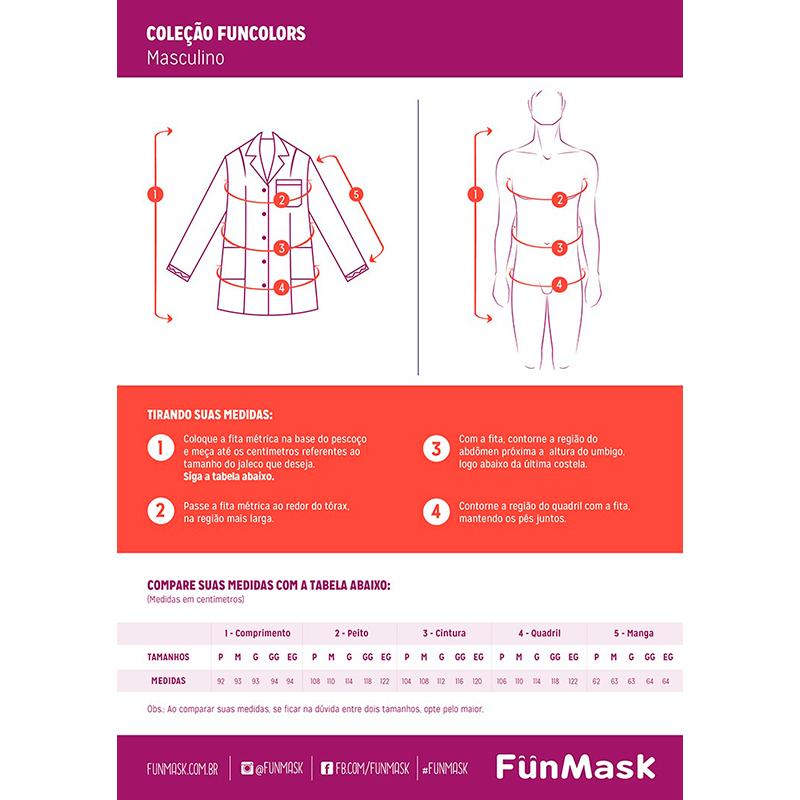 Infográfico do produto Jaleco Masculino Newprene Branco - GG