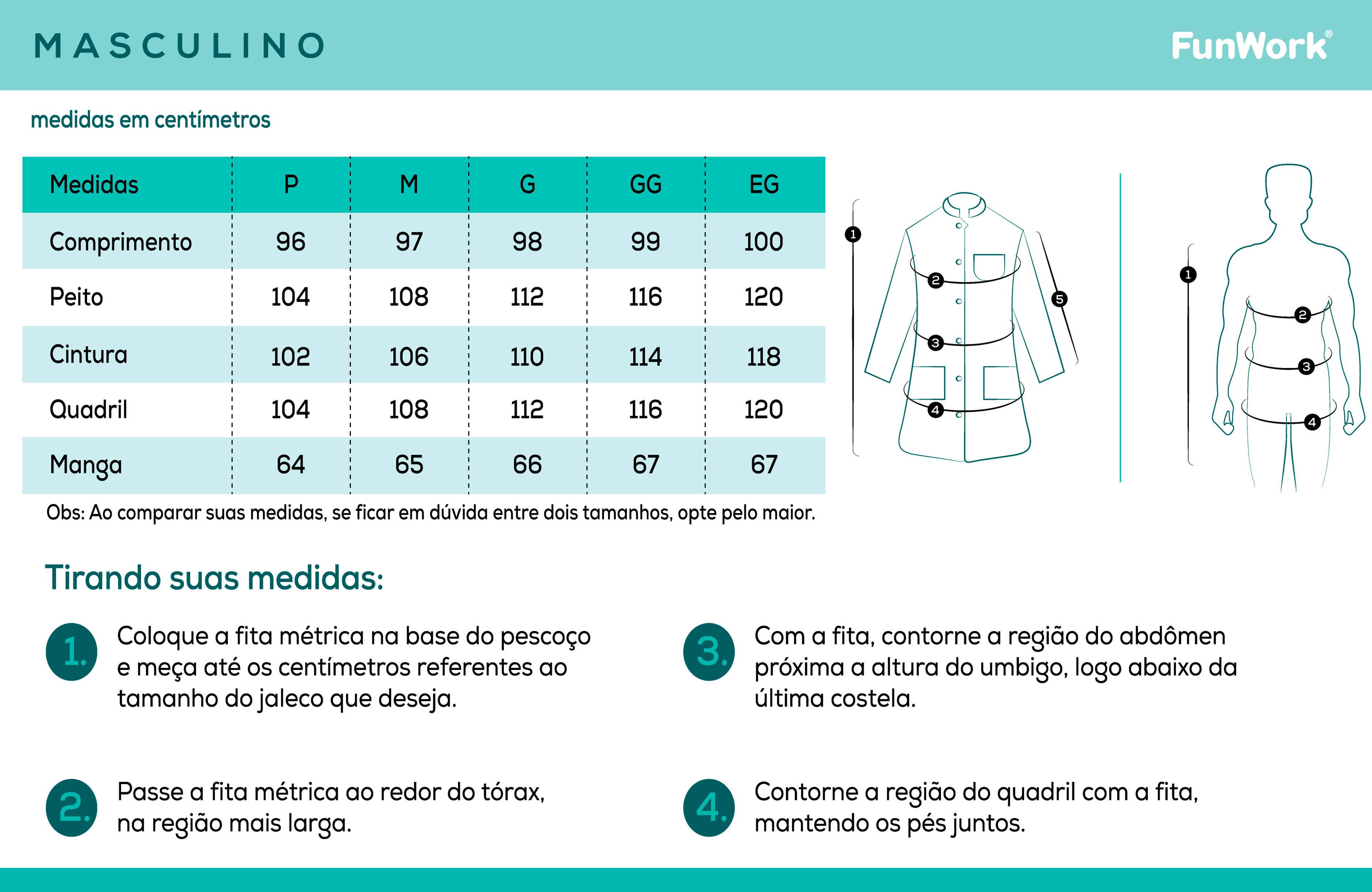 Infográfico do produto Jaleco Masculino Newsport Branco - M