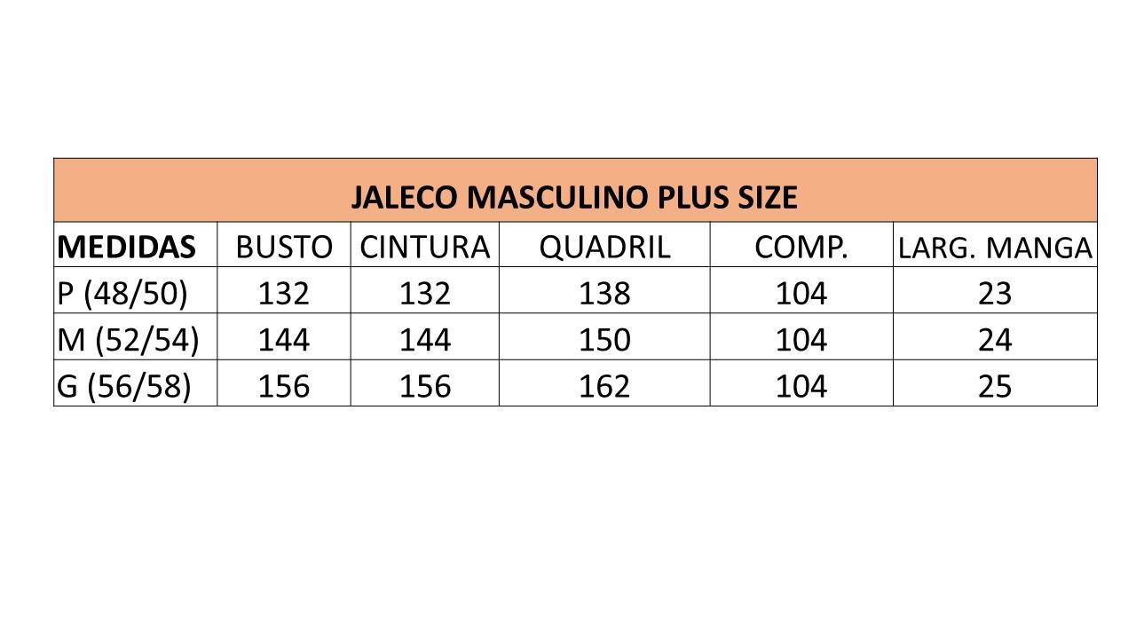 Infográfico do produto Jaleco Masculino Plus Size Unik Branco - P (48/50)