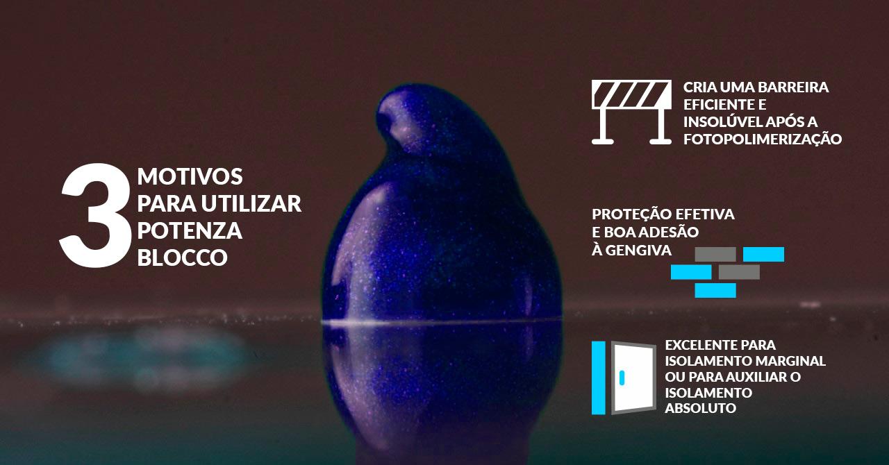 Infográfico do produto Barreira Gengival Potenza Blocco - Azul