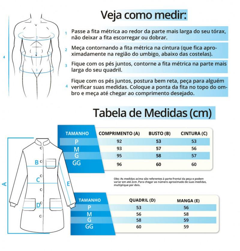 Infográfico do produto Jaleco Masculino Premium - Gola Padre - Cinza - G