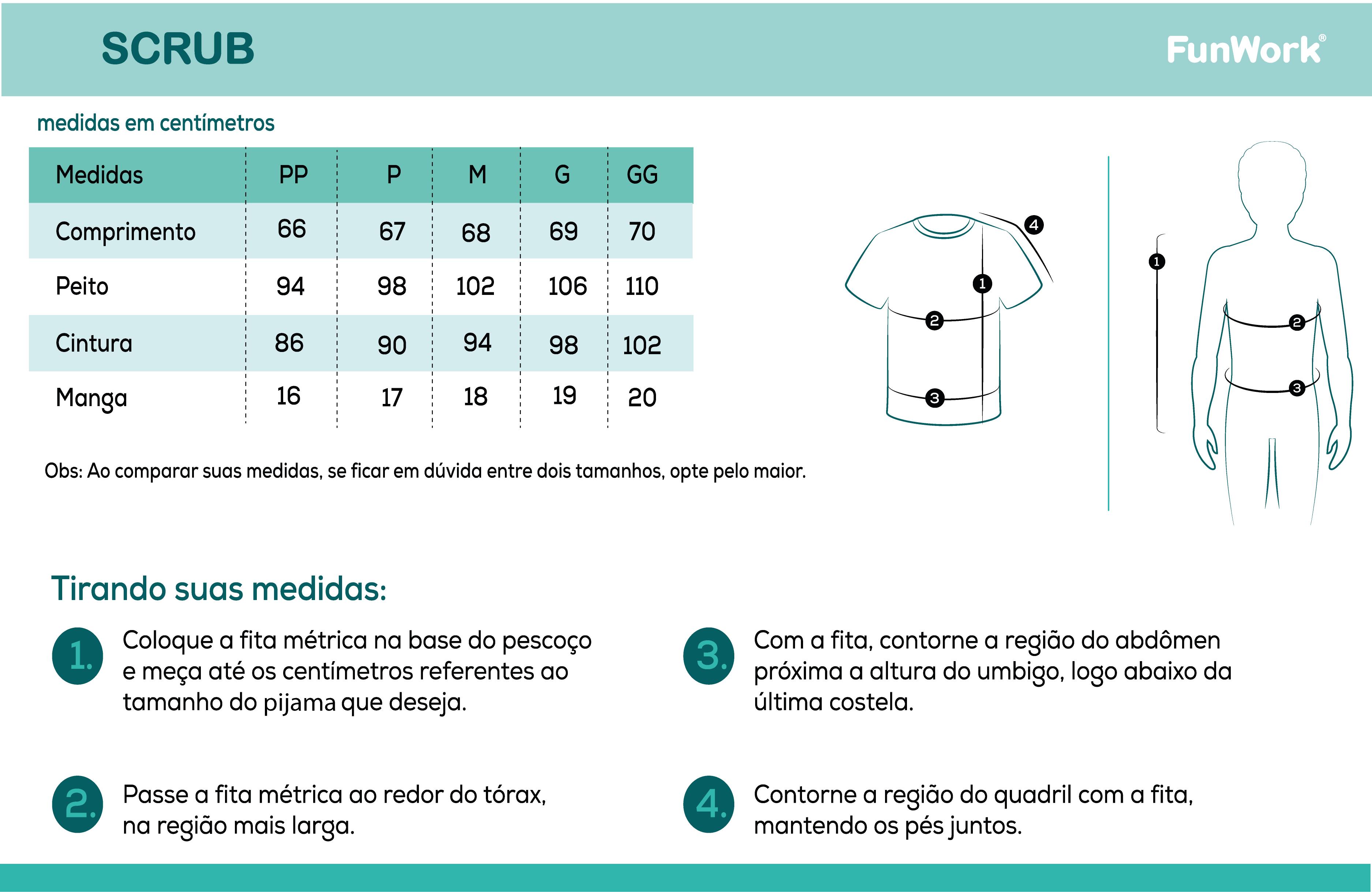 Infográfico do produto Blusa Scrub Feminino Unik Branco - M