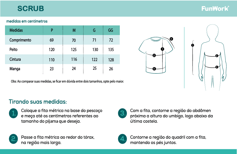 Infográfico do produto Blusa Scrub Masculino Unik Azul Marinho - M