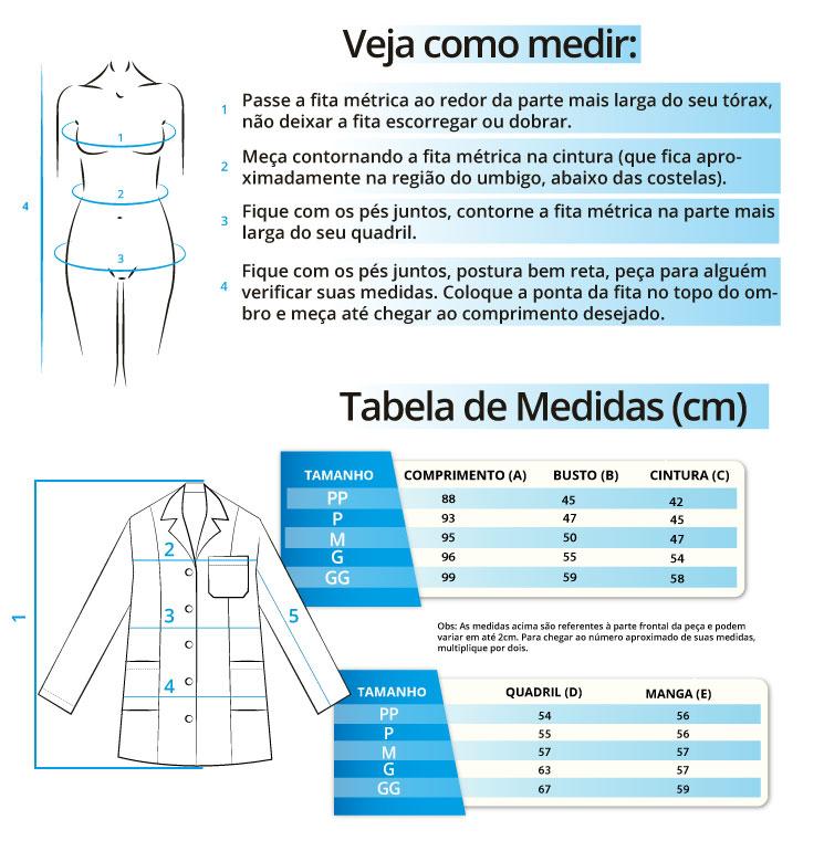 Infográfico do produto Jaleco c/ Cinto - Mandalla - G
