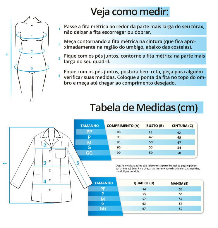 Infográfico do produto Jaleco c/ Cinto - Mandalla - GG