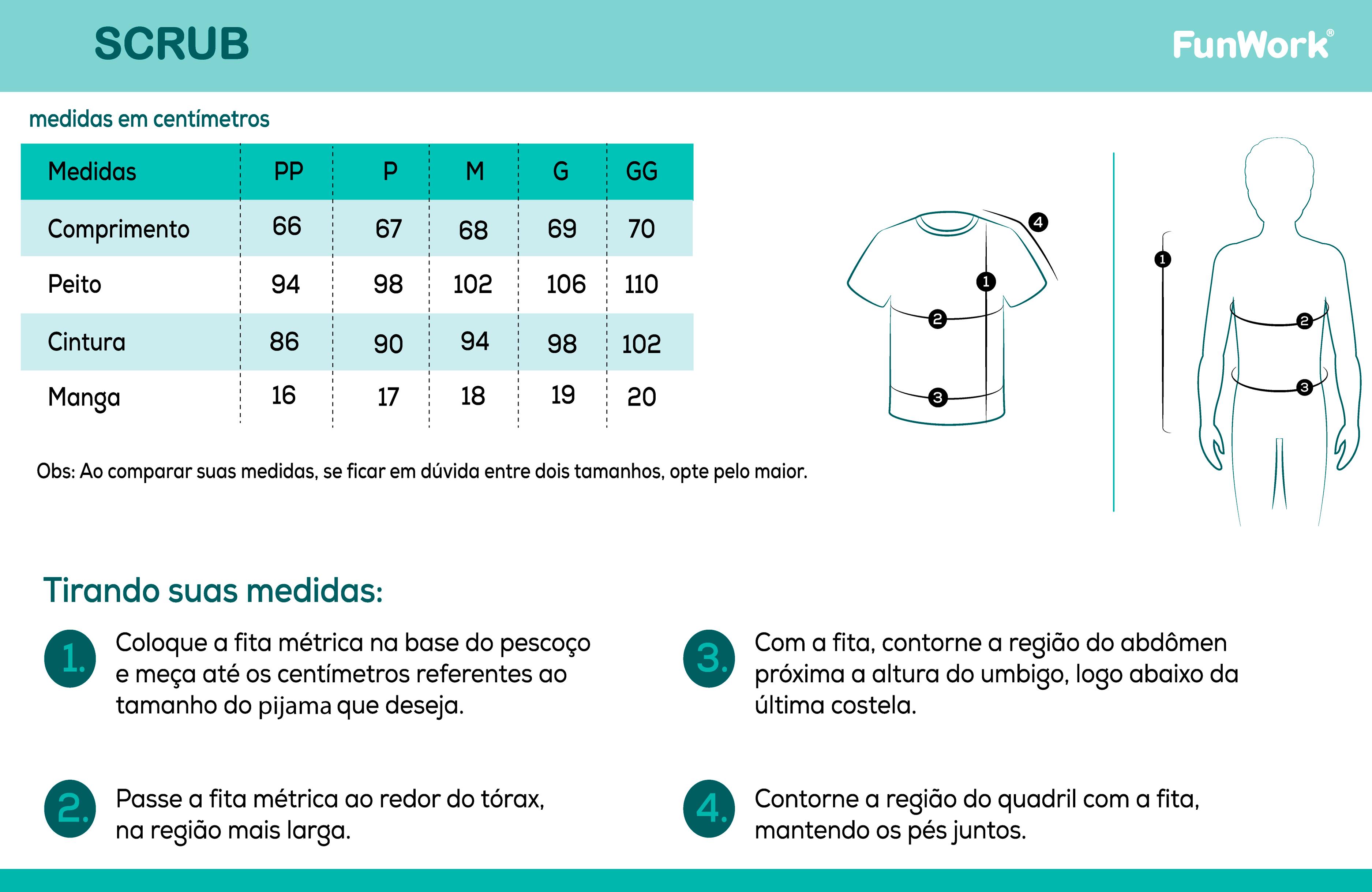 Infográfico do produto Blusa Scrub Feminino Conto de Fadas - GG