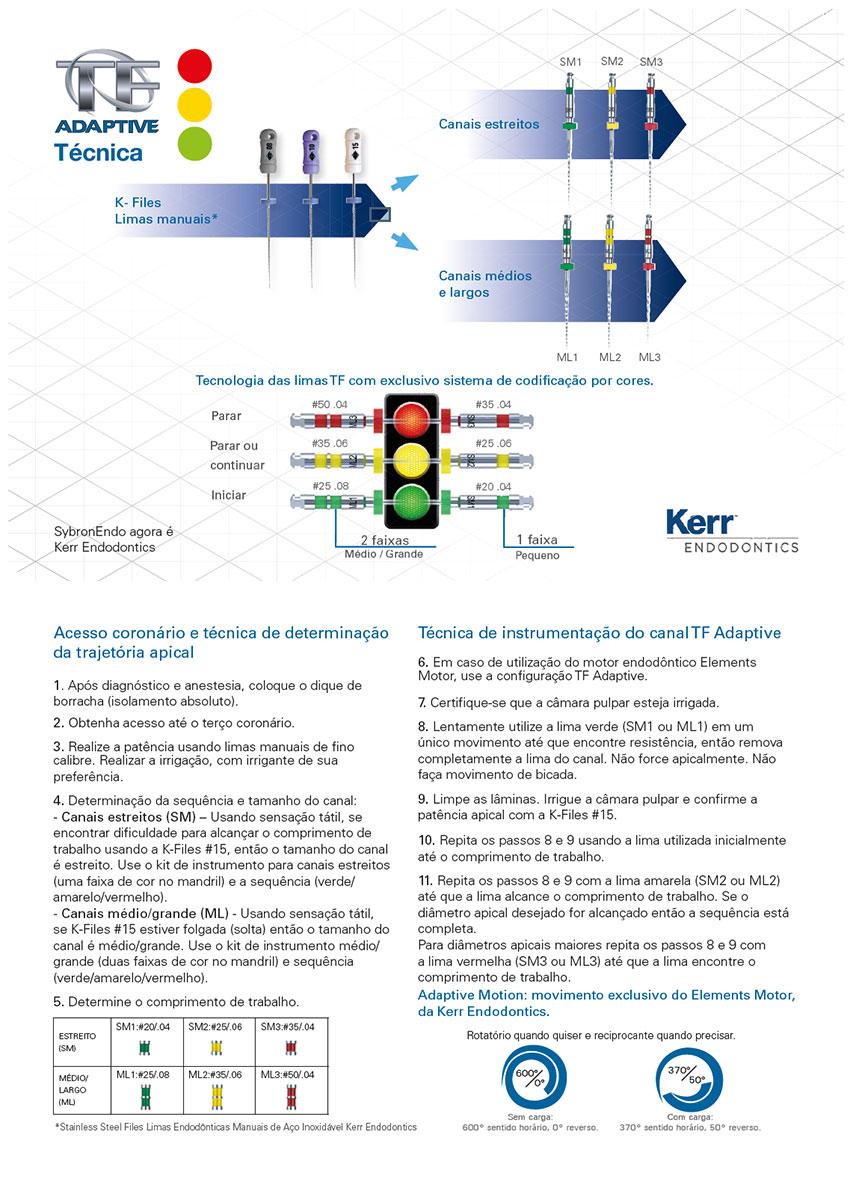 Infográfico do produto Limas Rot TF Adaptive (SM KIT) 20 4% 23mm 25 6% 23mm 35 4% 23mm Limas Man K-File 8 A 15 25mm 6 un