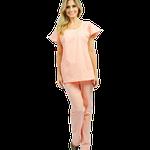 Pijama Cirúrgico Feminino Manga Curta - Salmão