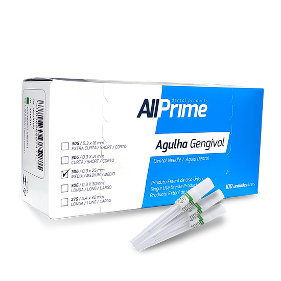 Agulha Gengival AllPrime 30G Média 0,3 x 25mm