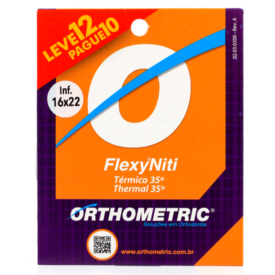 Arco Termoativado Flexy Niti Thermal 35° Retangular Inferior - 0,016 x 0,022 - Pague 10 Leve 12