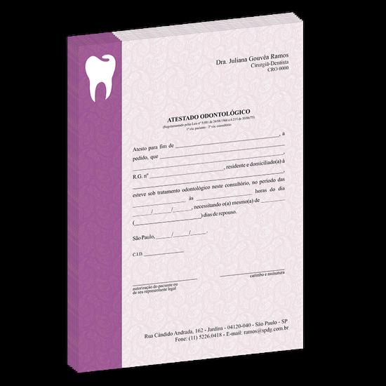 Atestado Linha Class - Arabescos Dental Roxo