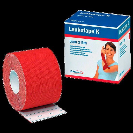 Bandagem Funcional de Tecido Elástico com Adesivo Leukotape K - Vermelho