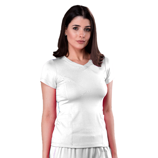 Blusa Scrub Feminina Dry Fit Branco - Tam. 42