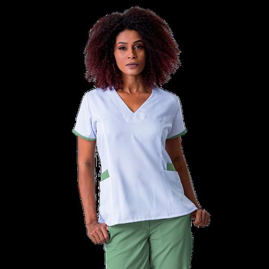 Blusa Scrub Feminina Elizabeth Branco com Verde - Tam. 44