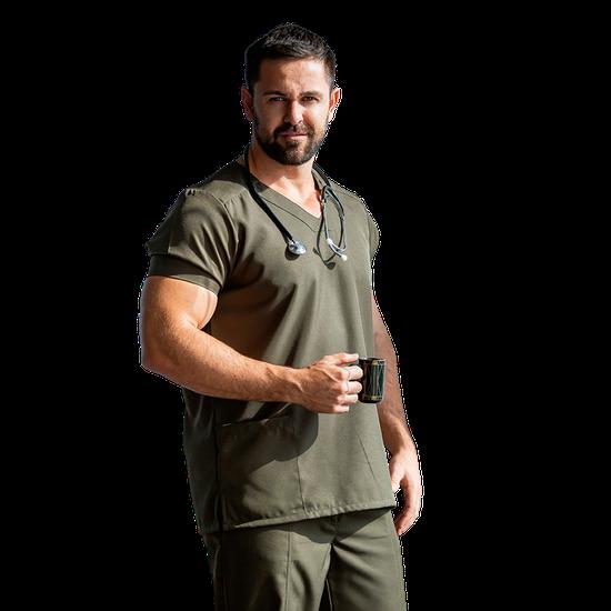 Blusa Scrub Masculina Gabardine Militar - Tam. 48