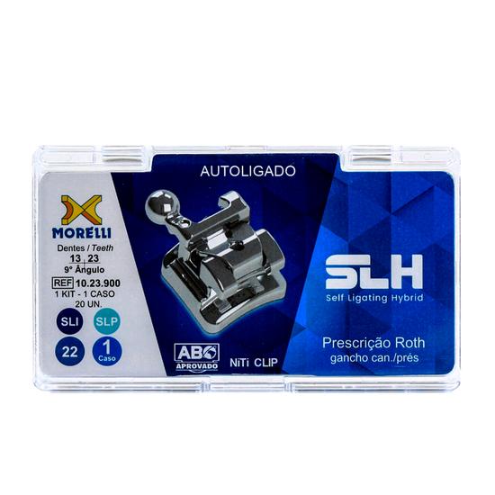 Bráquete Metálico Autoligado Híbrido Slh Roth 0.022 - Gancho Nos Caninos e Pré-Molares - 10.23.900