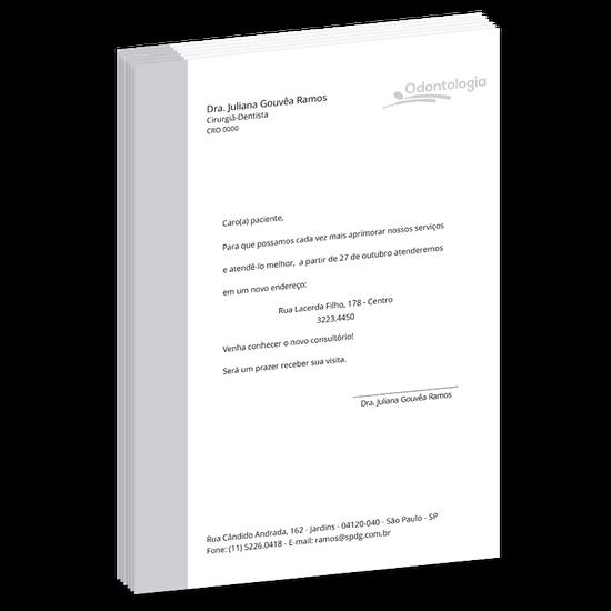 Carta de Comunicação - Mudança de Endereço