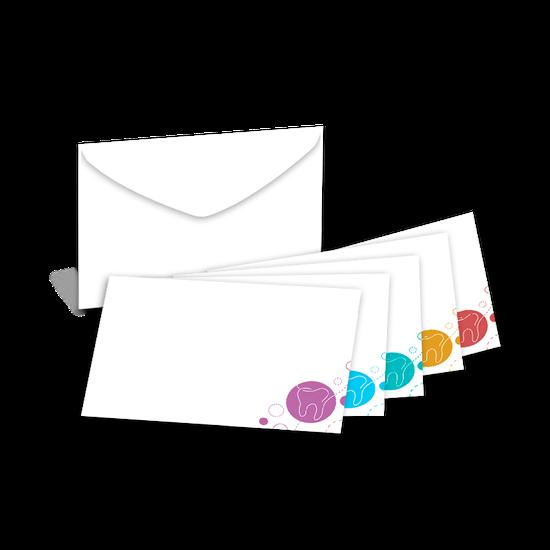 Envelope Carta Decorado - Branco com Dentinhos - Cores Sortidas