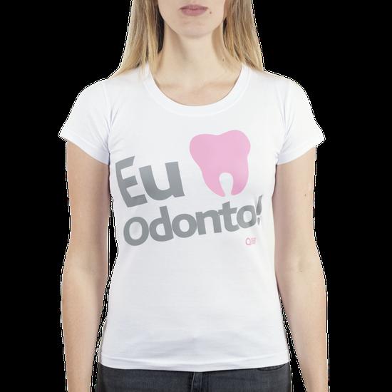 Camiseta Feminina - Eu Amo Odonto - Branca