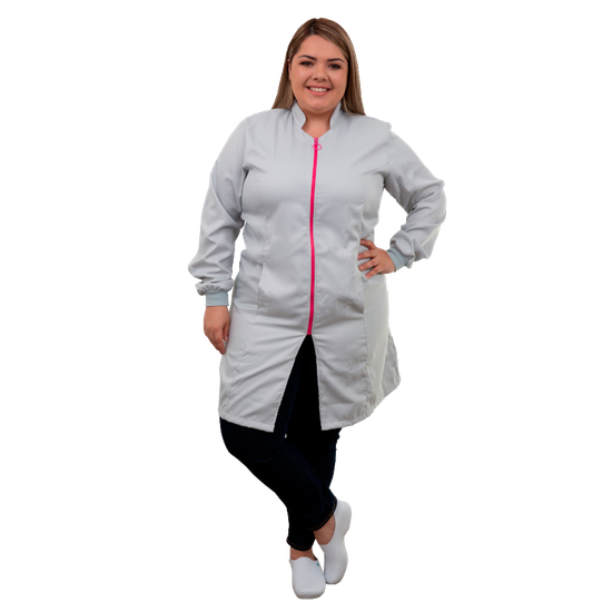 Jaleco Feminino Plus Size Vision Color Gelo/Rosa - G (56/58)
