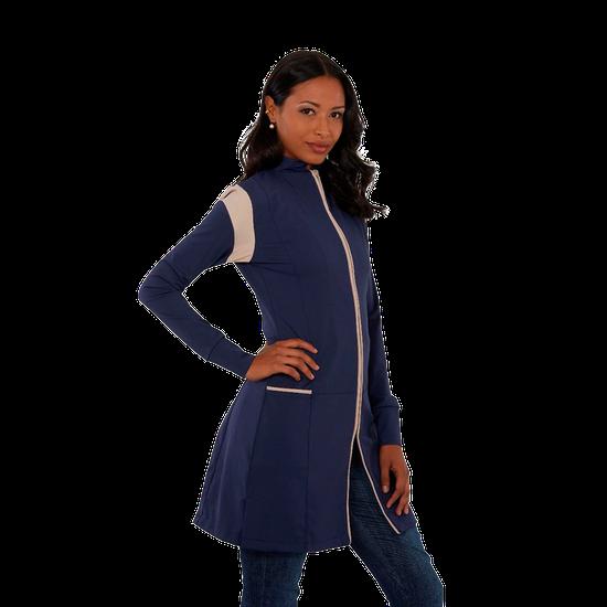 Jaleco Feminino Powerflex Azul com Bege