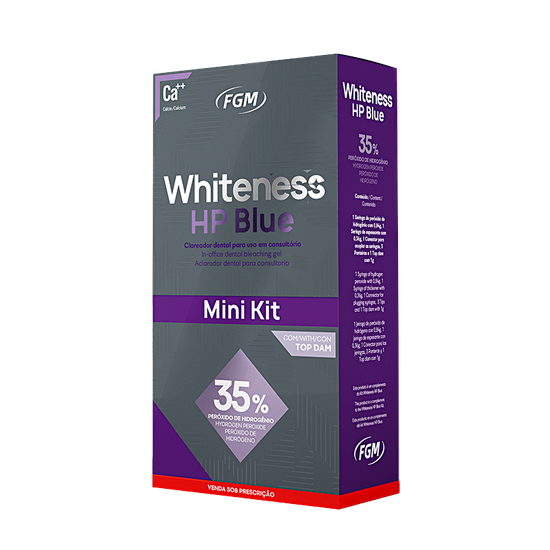 Kit Clareador Whiteness HP Blue 35% c/ Top Dam - 1 Paciente