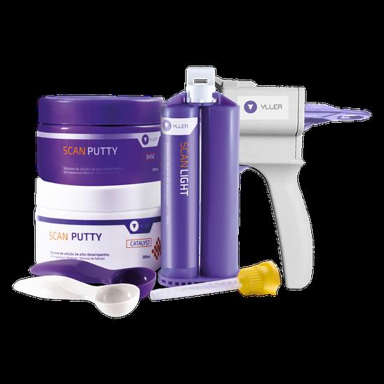 Kit Silicone de Adição Scan Putty + Scan Light 50ml + Pistola Dispensadora