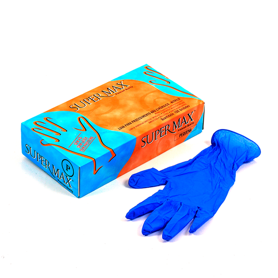 Luva Nitrílica p/ Procedimento s/ Pó Azul
