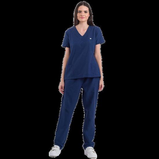 Pijama Cirúrgico Feminino Basic Azul Marinho