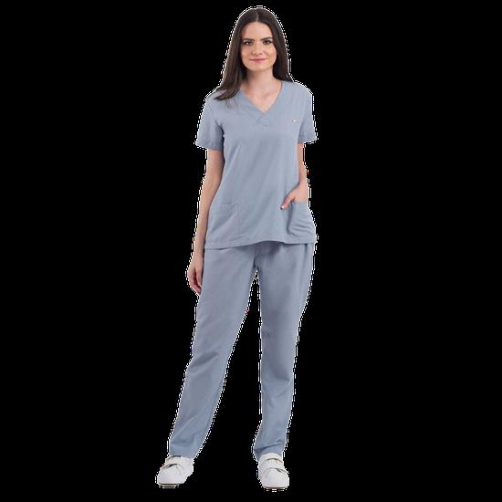 Pijama Cirúrgico Feminino Basic Cinza