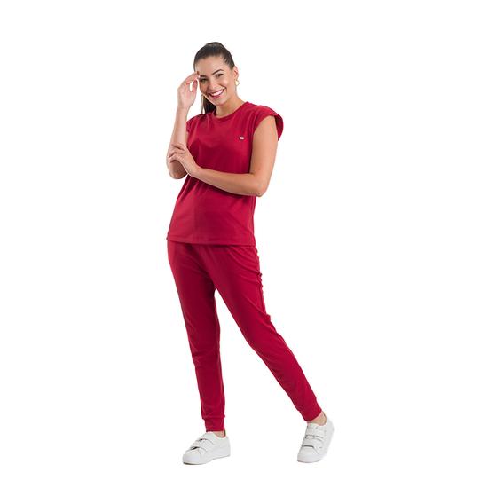 Pijama Cirúrgico Feminino Ohana Bordô